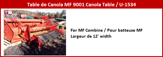 Table à canola MF 9001
